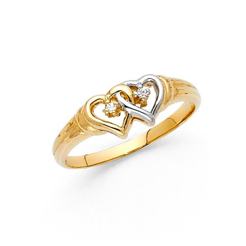 14k Two-tone Gold Cubic Zirconia Intertwined Heart Ring
