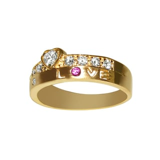 14k Yellow Gold Cubic Zirconia Two-row 'LOVE' Band