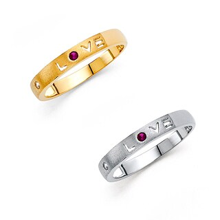 14k Yellow or White Gold Cubic Zirconia 'LOVE' Cut-out Band