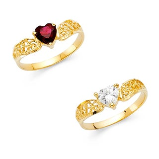 14k Yellow Gold Cubic Zirconia Heart-Shaped Filigree Ring