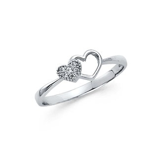 14k White Gold Cubic Zirconia Side-by-side Heart Ring