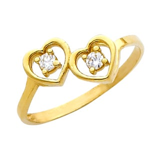 14k Yellow Gold Cubic Zirconia Two Heart Ring