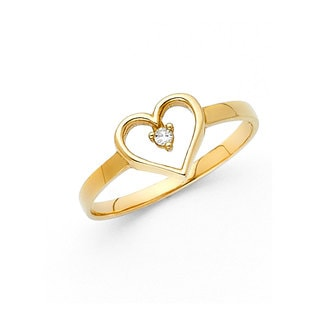 14k Yellow Gold Cubic Zirconia Open Heart Ring