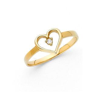 14k Yellow Gold Cubic Zirconia Open Heart Ring