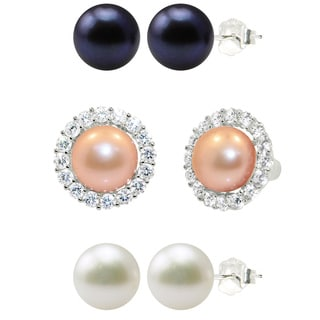 Sterling Silver White/ Peach/ Peacock Black Freshwater Cultured Round Button Pearl and Cubic Zircon