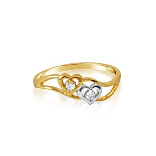 14k Yellow Gold Cubic Zirconia 2-Heart Seminario-style Ring