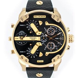 Diesel Men's DZ7371 Mr Daddy Dual Zone Chornograph Black Dial Black Leather Watch
