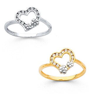 14k Gold Cubic Zirconia Heart and Double Flower Ring