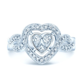 14k White Gold 1/2ct TDW Diamond Heart Shape Ring (H-I, VS1-VS2)