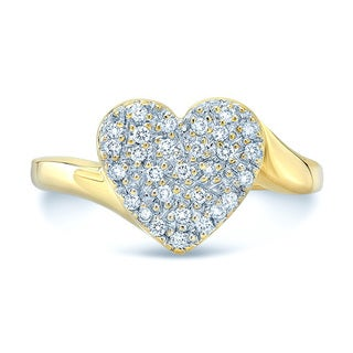 14k Yellow Gold 1/5ct TDW Diamond Heart Ring (H-I, VS1-VS2)