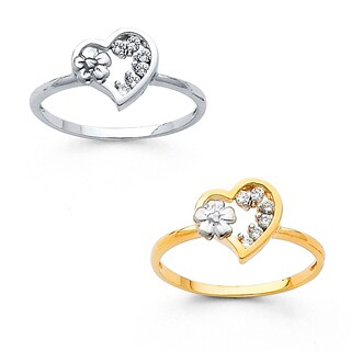 14k Gold Cubic Zirconia Heart and Flower Statement Ring