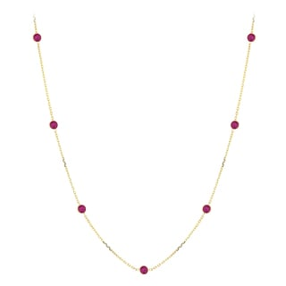 Luxurman 14k Yellow Gold Ruby Chain Necklace