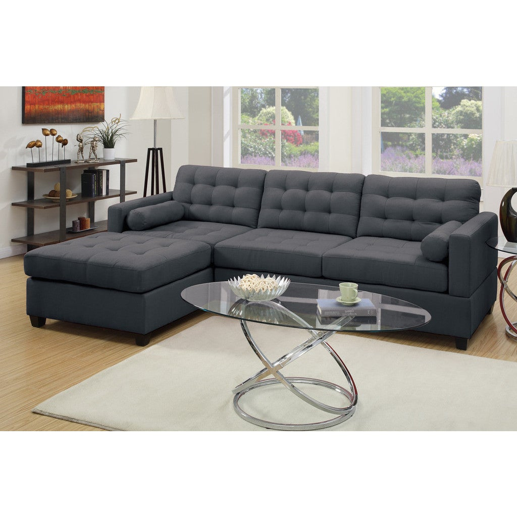 Poundex Carrara 2-piece Sectional Sofa Upholstered in Pol...