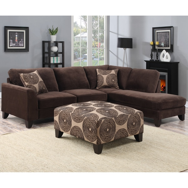 Shop Porter Malibu Chocolate Brown Sectional Sofa with Ottoman ...