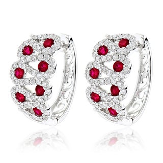Luxurman 14k White Gold 1 1/10ct TDW Diamond and Red Ruby Earrings (G-H, VS-SI)