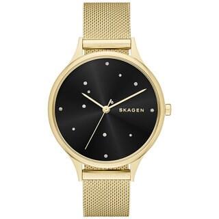 Skagen Women's SKW2385 Anita Crystal Accented Black Dial Gold-Tone Stainless Steel Mesh Bracelet Watch
