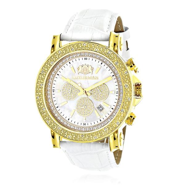 46697af9005 Luxurman Men  x27 s 1 4Ct TDW Diamond Yellow Goldplated 2708 Escalade Large