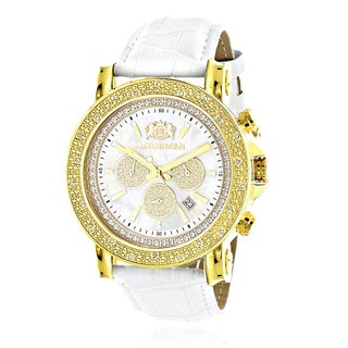 Luxurman Men's 1/4Ct TDW Diamond Yellow Goldplated 2708 Escalade Large Watch