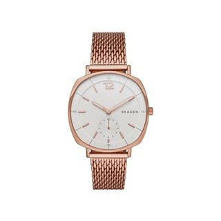 Skagen Women's SKW2401 Rungsted White Dial Rose-Tone Gold Stainless Steel Mesh Bracelet Watch|https://ak1.ostkcdn.com/images/products/11324309/P18301001.jpg?impolicy=medium