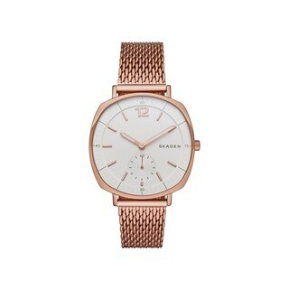 Skagen Women's SKW2401 Rungsted White Dial Rose-Tone Gold Stainless Steel Mesh Bracelet Watch
