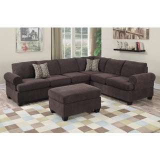 Grosseto Sectional with Ottoman Upholstered in Chocolate Velvet Fabric
