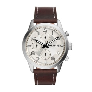 Fossil Men's FS5138 Daily Chronograph Silver-Tone Dial Brown Leather Watch