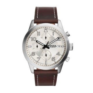 Fossil Men's FS5138 Daily Chronograph Silver-Tone Dial Brown Leather Watch|https://ak1.ostkcdn.com/images/products/11324317/P18301002.jpg?impolicy=medium
