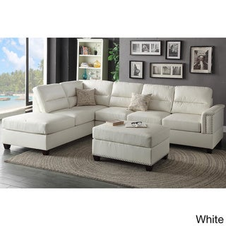 Marsala 3-piece Sectional with Ottoman Upholstered in Bonded Leather