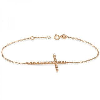 14k Gold 1/5ct Sideways Cross Chain Bracelet & Diamond Accents (G-H, SI1-SI2)