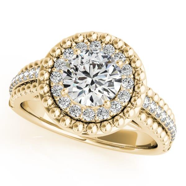 14k Gold 1 1/5ct Vintage Halo Round Cut Diamond Engagement Ring