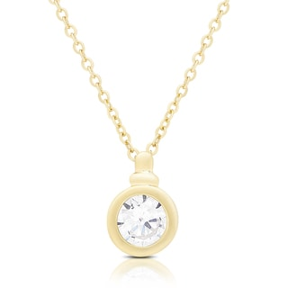 Dolce Giavonna Gold or Silvertone Cubic Zirconia Circle Necklace