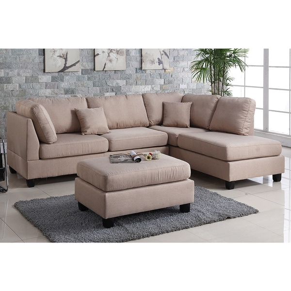 Modern chaise sofa - Pistoia 3 Piece Sectional Sofa With Ottoman Upholstered In