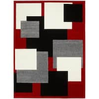 LYKE Home Contemporary Red Area Rug - 5' x 7'