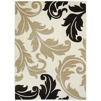 LYKE Home Contemporary Ivory Floral Area Rug - 5' x 7'