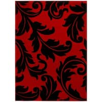 LYKE Home Contemporary Red Floral Area Rug - 5' x 7'