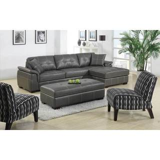 Manhattan Grey Bonded Leather 3-piece Chaise Sofa and Ottoman