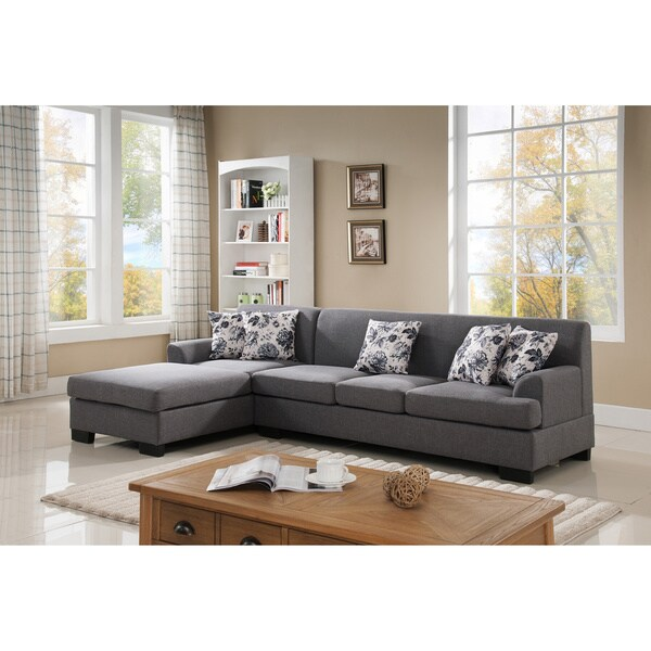 Shop Allen Modern Fabric Reversible Sectional Sofa Set - Free ...