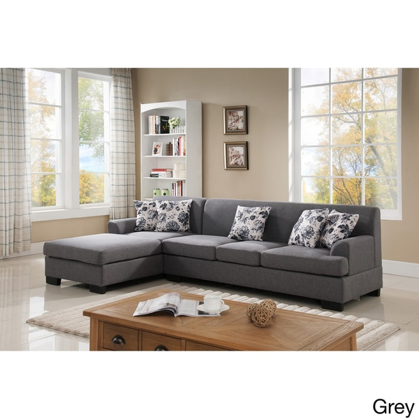 Superb Allen Modern Fabric Reversible Sectional Sofa Set