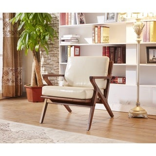 Elegant Signature Designs Creamy White Solid Wood Accent Club Arm Chair
