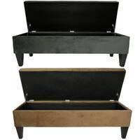 MJL Furniture Brooke 10 Button Tufted ENNIS Long Storage Bench Ottoman