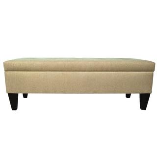 MJL Furniture Brooke 10 Button Tufted Dawson7 Long Storage Bench Ottoman