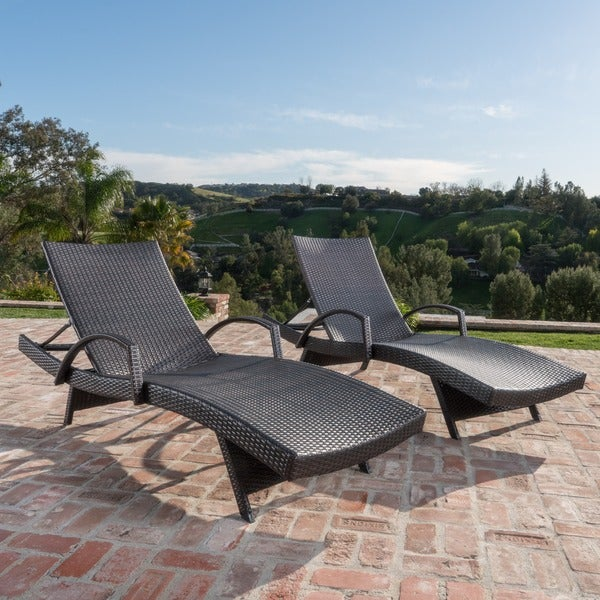 Toscana outdoor wicker armed chaise lounge chair set of 2 for 2 armed chaise lounge