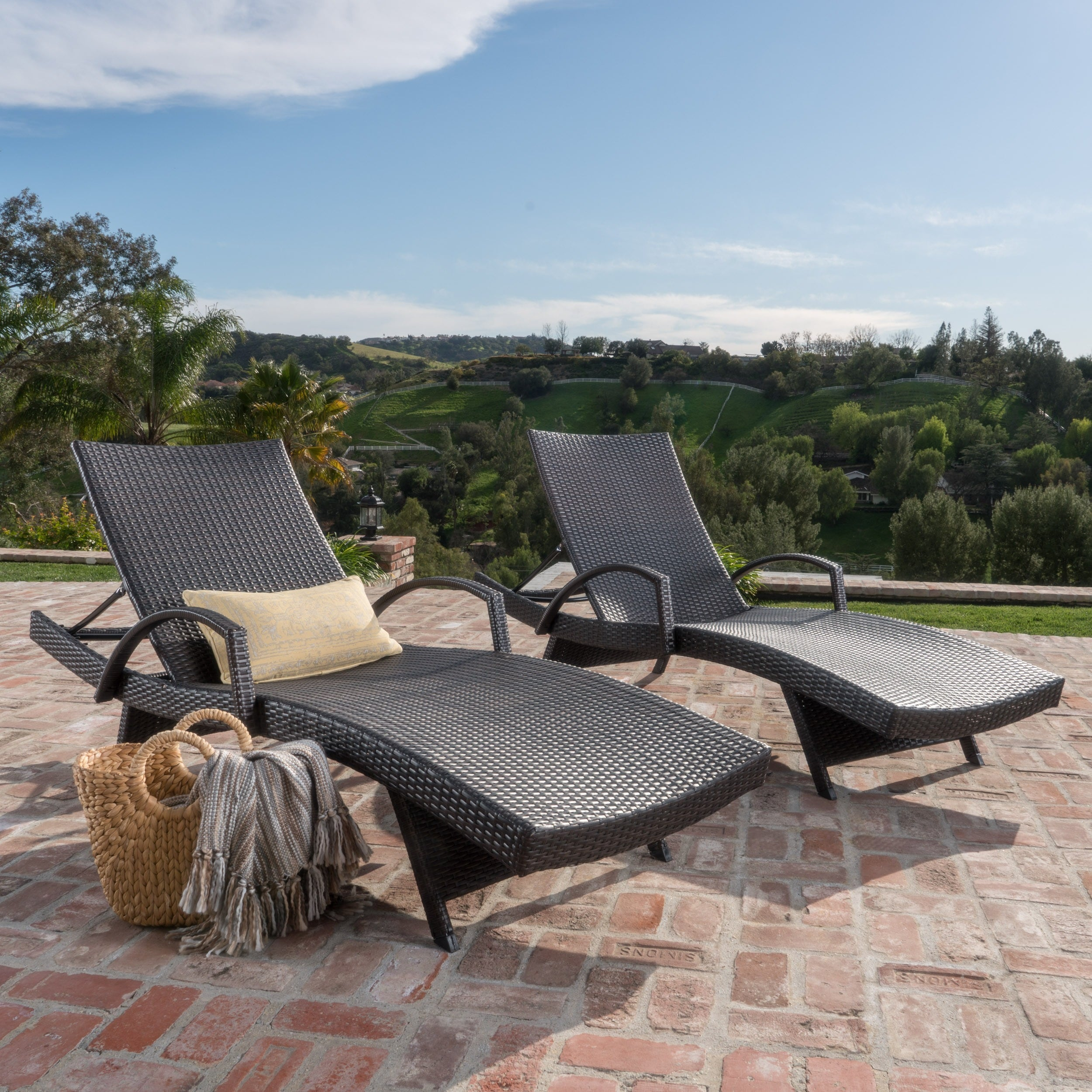 Sensational Toscana Outdoor Wicker Armed Chaise Lounge Chair Set Of 2 By Christopher Knight Home Caraccident5 Cool Chair Designs And Ideas Caraccident5Info