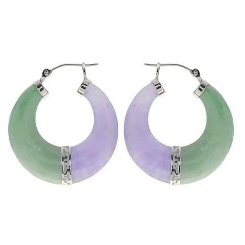 Gems For You Sterling Silver Green and Lavender Jade Hoop Earrings