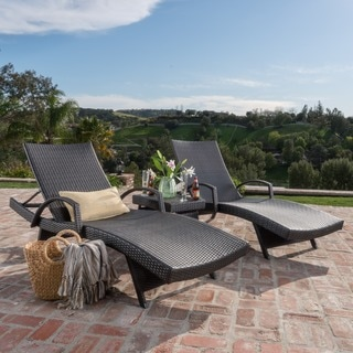 Toscana Outdoor Wicker 3 Piece Adjustable Armed Chaise Lounge Set By  Christopher Knight Home