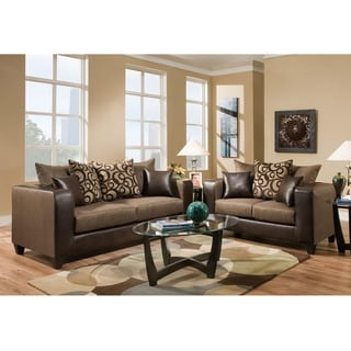 Riverstone Object Espresso Chenille Living Room Set
