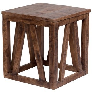 Wanderloot Plantation Sustainable Mango Wood Square End Table (India)