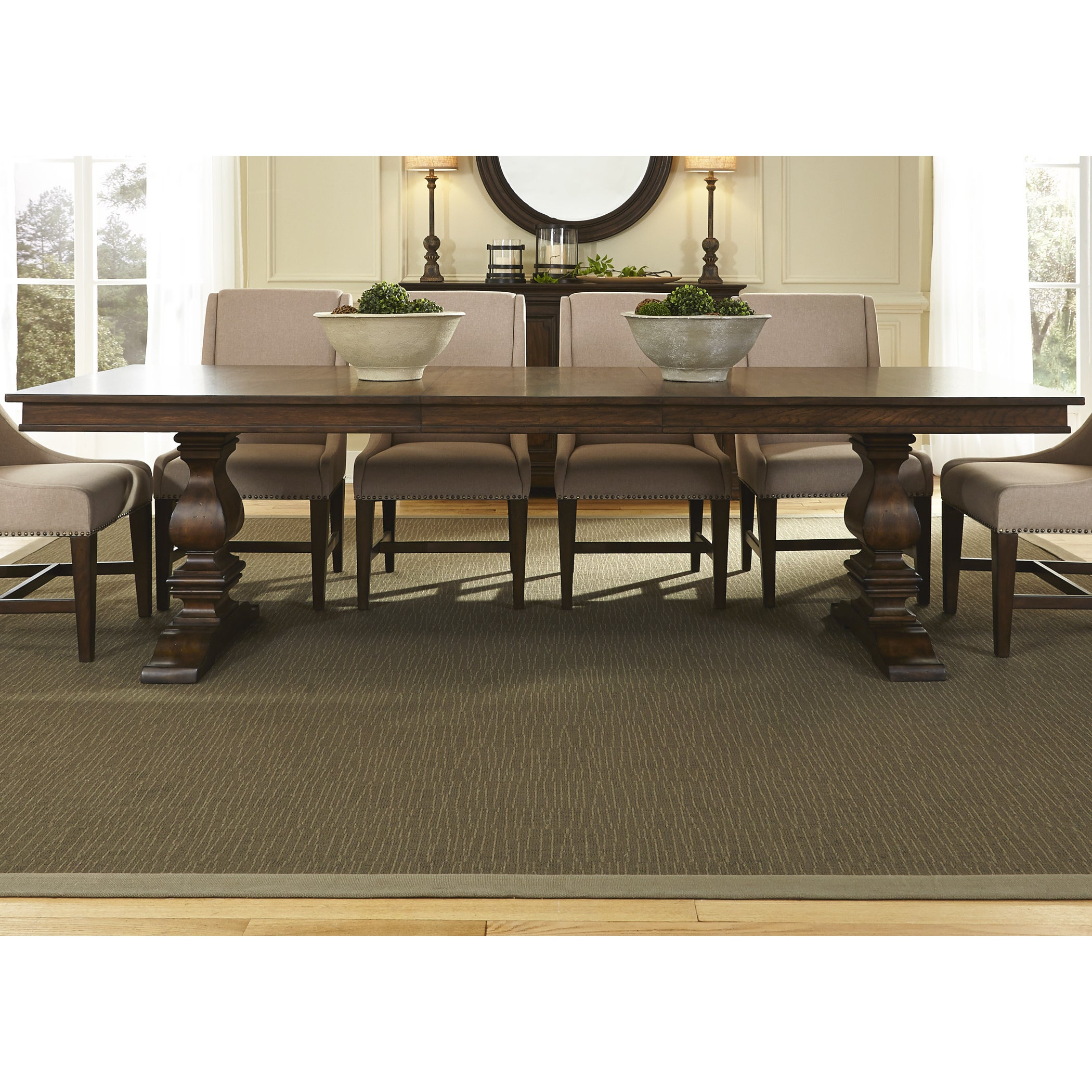Liberty Armand Antique Brownstone Trestle Table and Base ...