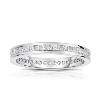 Eloquence, 18k White Gold 1ct TW Channel Set Princesscut Eternity Band