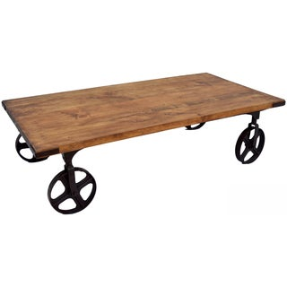 Wanderloot Wheeler Reclaimed Pine Industrial Wheel Rectangle Coffee Table Cart (India)
